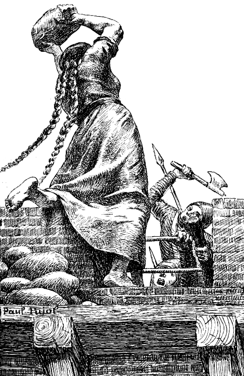 «Assaut de Simon de Montfort», gravure de Paul Pujol