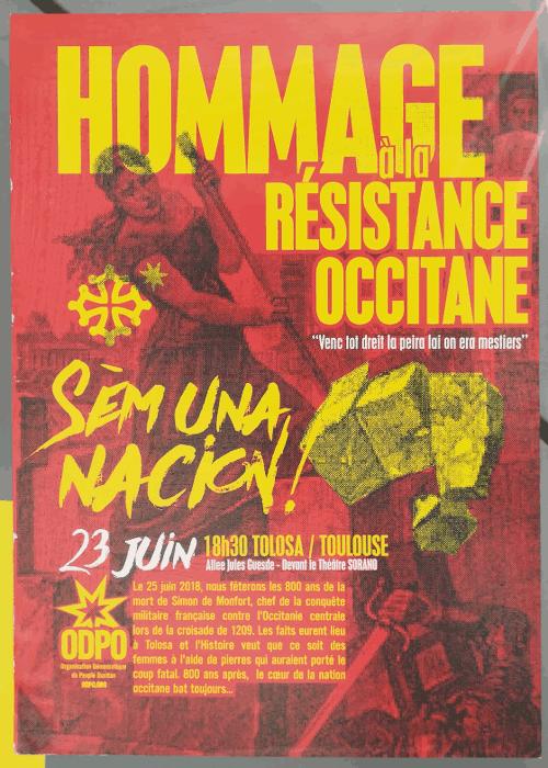 Affiche de l'ODPO (organisation démocratique du peuple occitan), vue à Toulouse le 20 juin 2018.