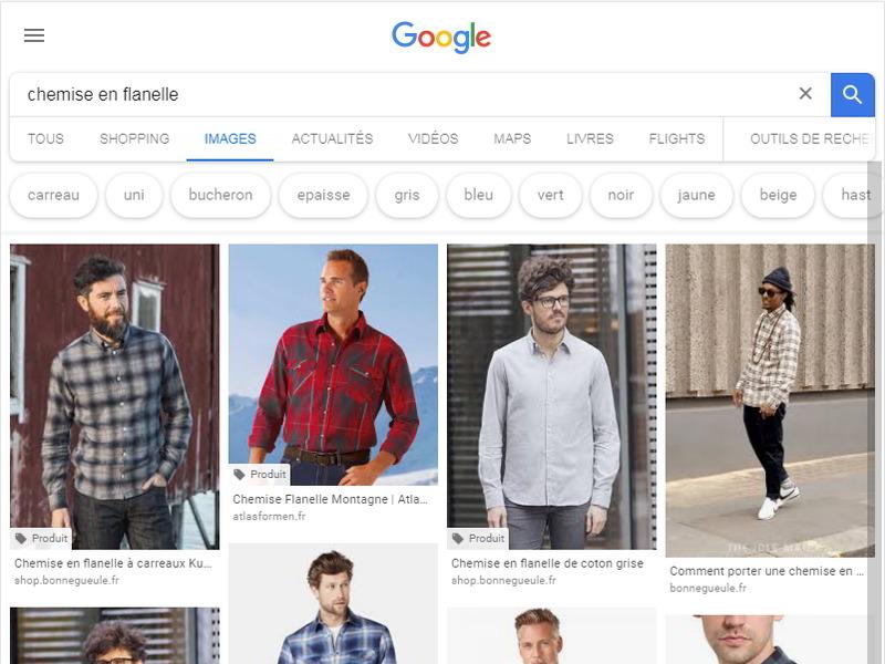 """copie d'écran de la recherche d'images de Google, quand on tape """"chemise en flanelle"""" : on voit à nouveau des chemises"""