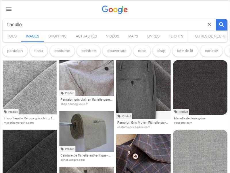 """copie d'écran de la recherche d'images de Google, quand on tape """"flanelle"""" : on voit des morceaux de tissu"""