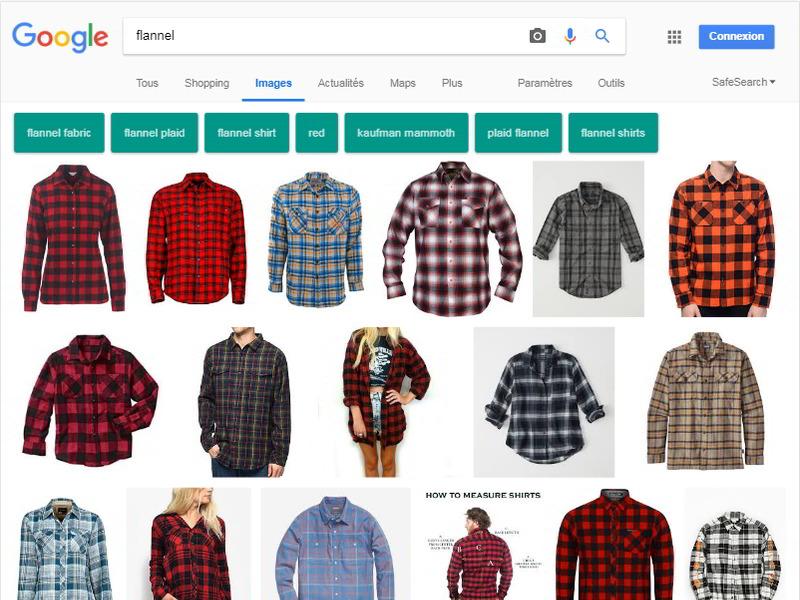 """copie d'écran de la recherche d'images de Google, quand on tape """"flannel"""" : on voit des images de chemise"""