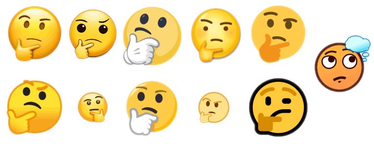 11 versions différentes de l'emoji «visage en pleine réflexion»