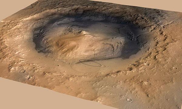 image 3D du cratère Gale