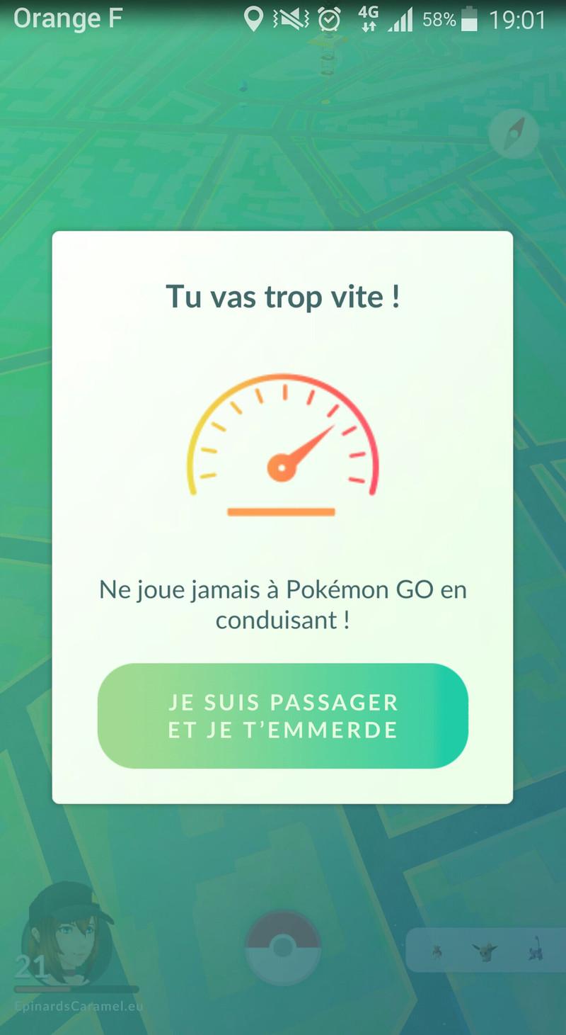 """Copie d'écran de la mise à jour de Pokémon Go : nouveau message """"je suis passager.. et je t'emmerde"""". (humour)"""