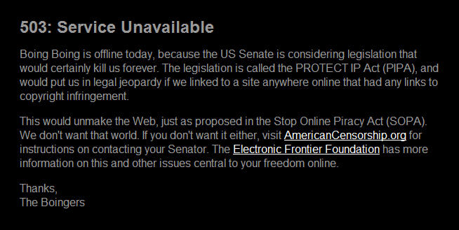 sopa blackout on boingboing