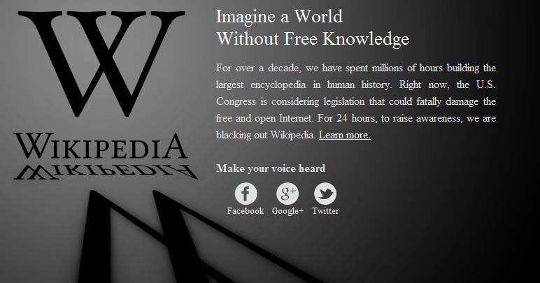 SOPA blackout on wikipedia