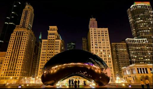 a city, at night