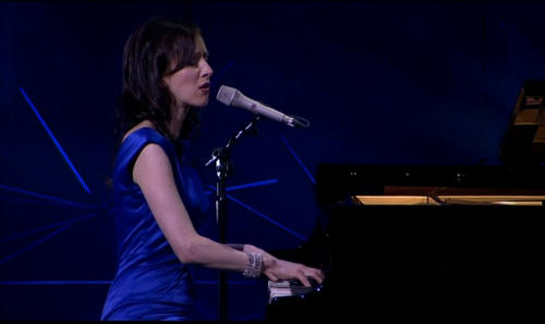 Sarah Slean on the piano