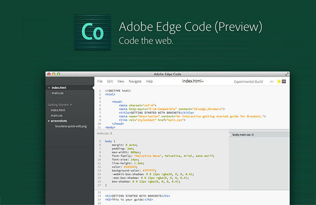 copie d'écran d'Adobe code