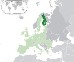carte de l'Europe montrant la Finlande