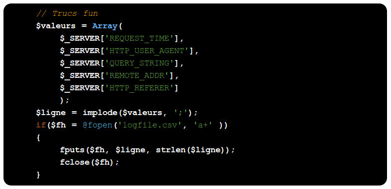 copie d'écran d'un bloc de code