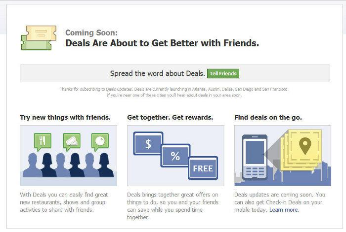 copie d'écran de la page Deals de Facebook