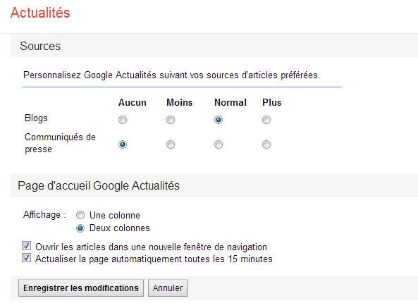 screenshot of Google news' settings
