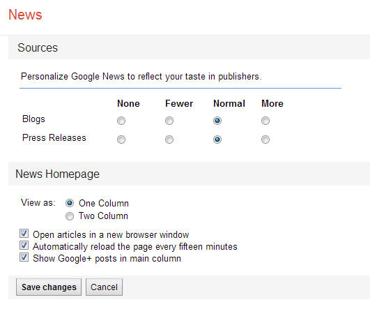 screenshot of the settings page in Google news