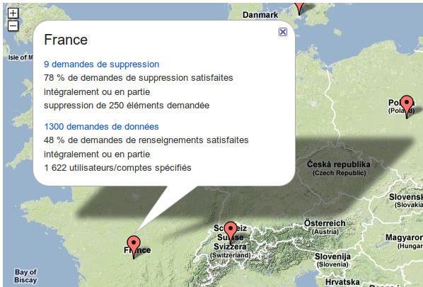 carte de france, nombre de demande de retrait d'information chez Google