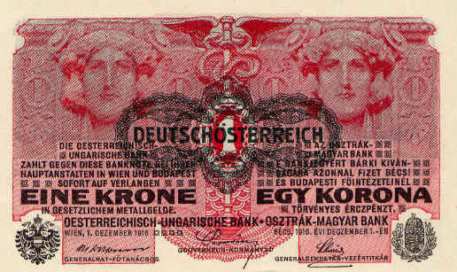 A one-crown note from the Austro-Hungarian empire, Wikimedia Commons