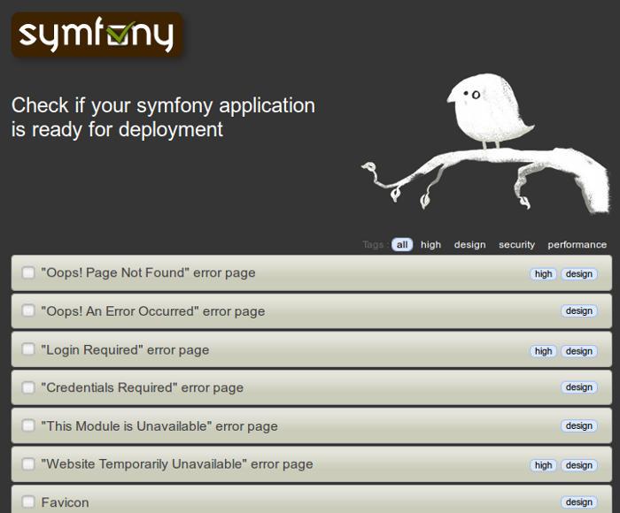 copie d'écran de la page symfony-check