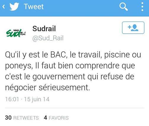 Copie d'écran d'un tweet de SUD Rail