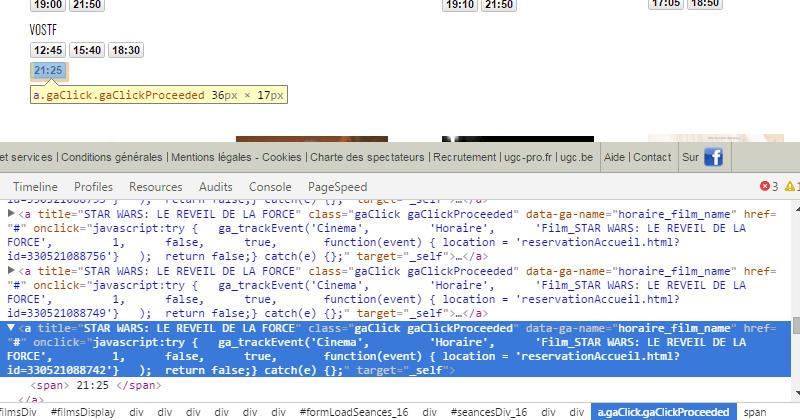 Capture d'écran du site ugc.fr en mode débogage