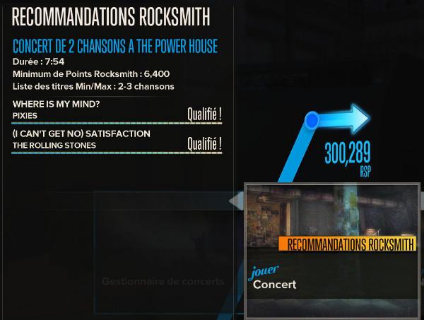 Recommandations dans Rocksmith