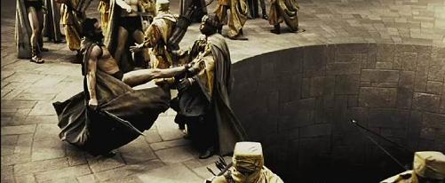 Still from the picture 300, Leonidas kicks the diplomatic envoy