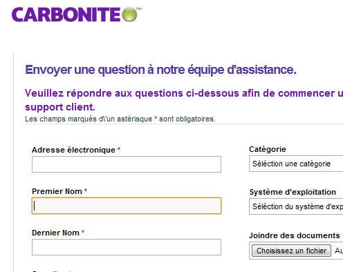 capture d'écran de l'aide de Carbonite en français