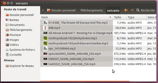 Nautilus dans Ubuntu 11.10